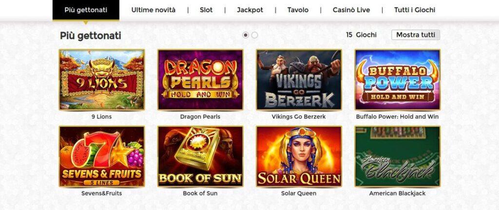 Slot e giochi di Unique Casino