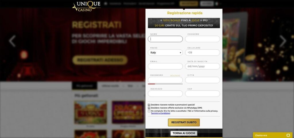 Registrazione Unique Casino