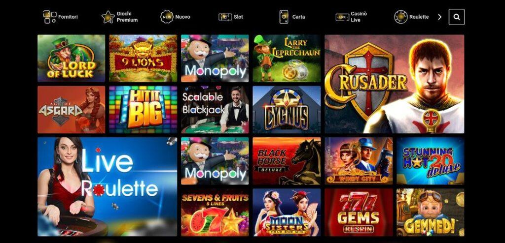Selezione di giochi Zet Casino