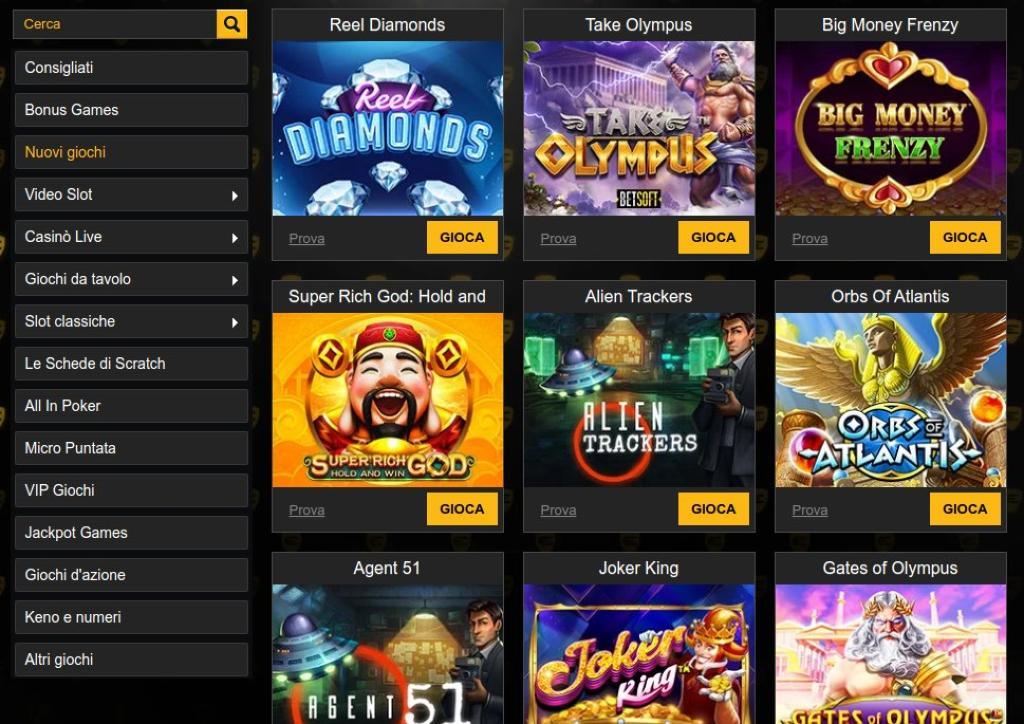 Slot e giochi da tavolo di Enzo Casino